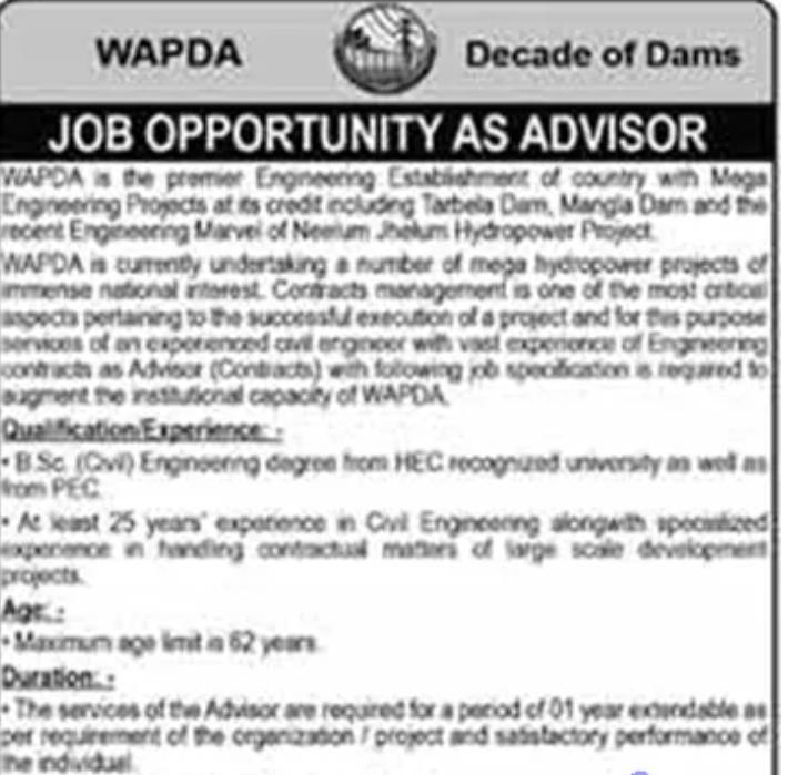Latest WAPDA Jobs 2021 Advertisement Application Form
