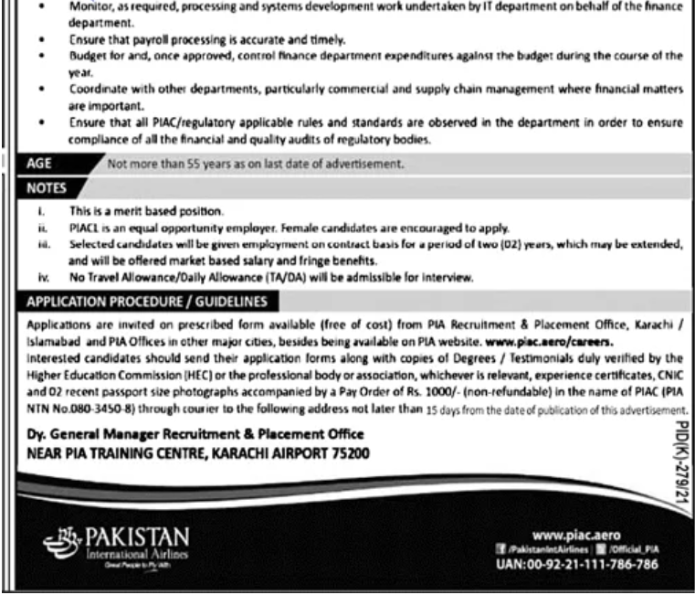 PIA jobs 2021 - Pakistan International Airlines Jobs 2021